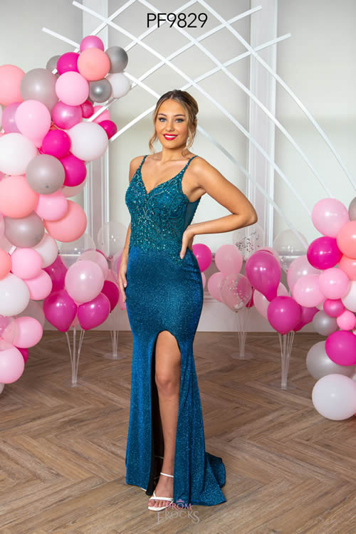 Prom Frocks PF9829 PEACOCK FRONT